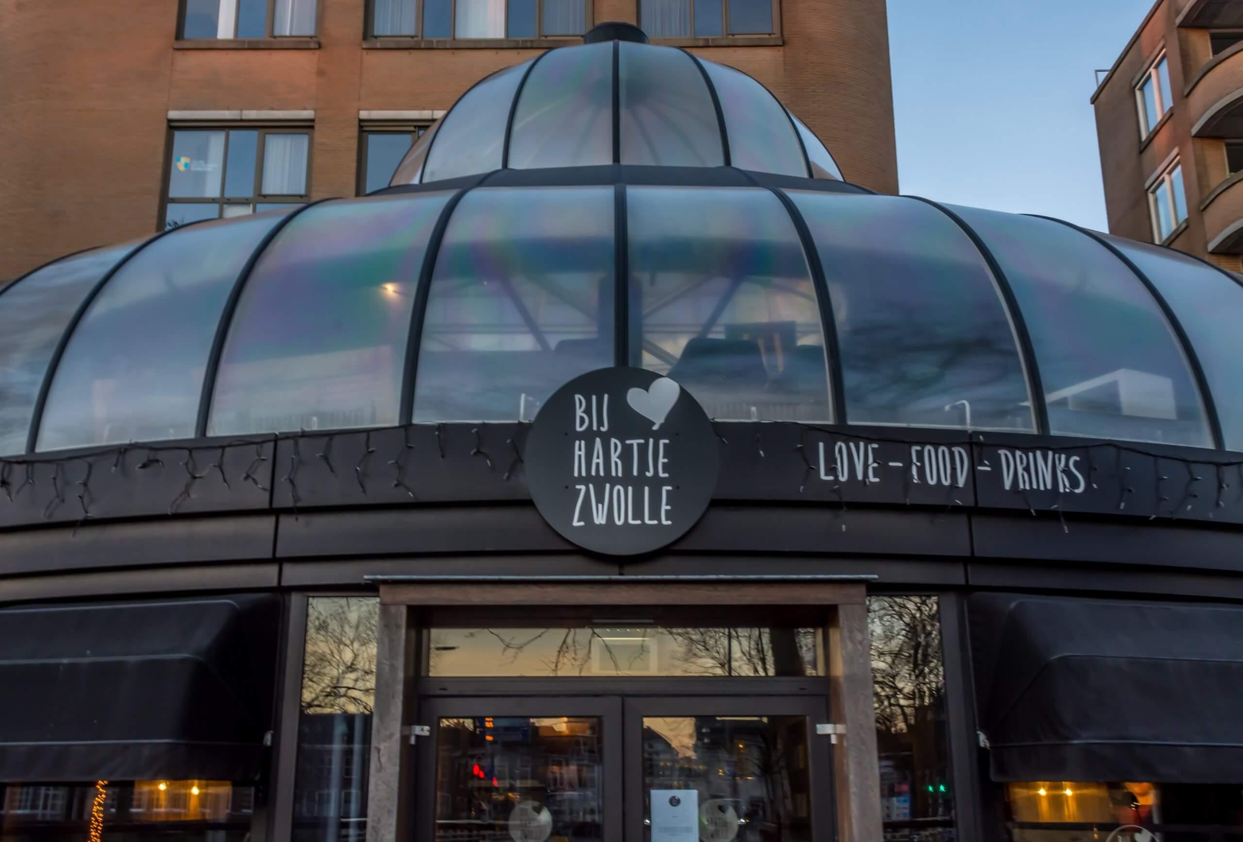 Ingang restaurant Bij Hartje Zwolle
