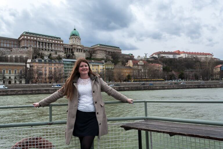 Sailing at the Donau in Budapest with Buda Castle in the background