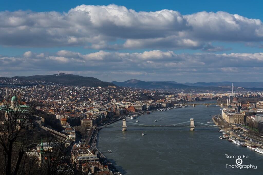 View from Géllert hill at the Buda Castle and Chainbridge in Budapest