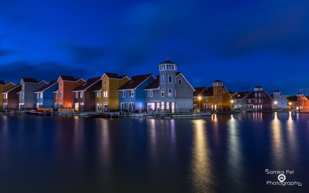 Reitdiep harbour in the blue hour in Groningen