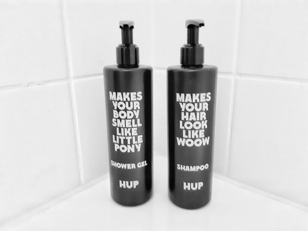 Own shampoo and shower gel at the HUP Hotel in Mierlo